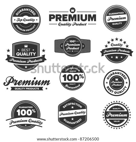 Set of 12 retro premium quality badges and labels - stock vector