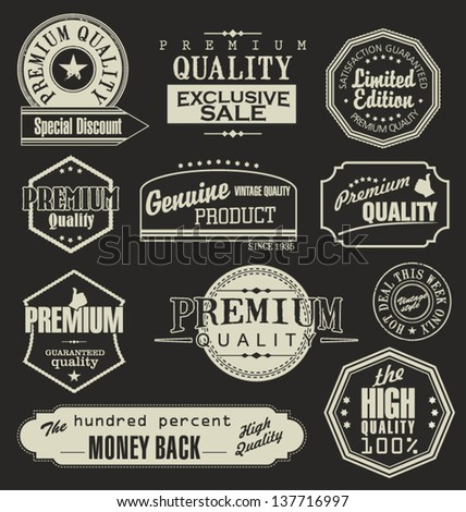 Set of retro premium quality labels - stock vector