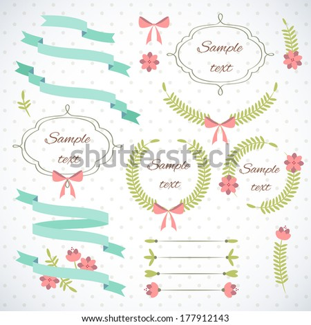 Set of retro ribbons and frames. - stock vector