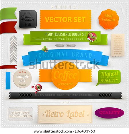 Set of retro ribbons, labels and beetles. Vector illustration. - stock vector