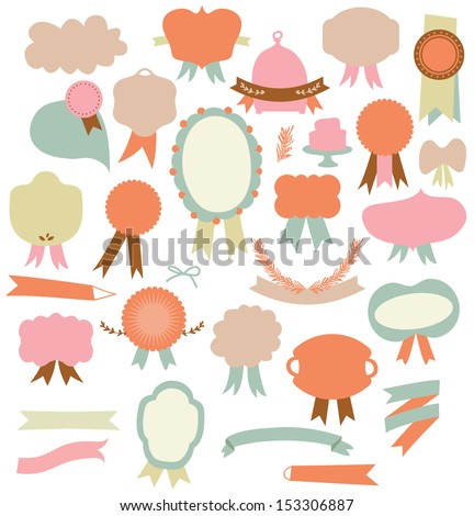 Set of retro ribbons labels design elements - stock vector