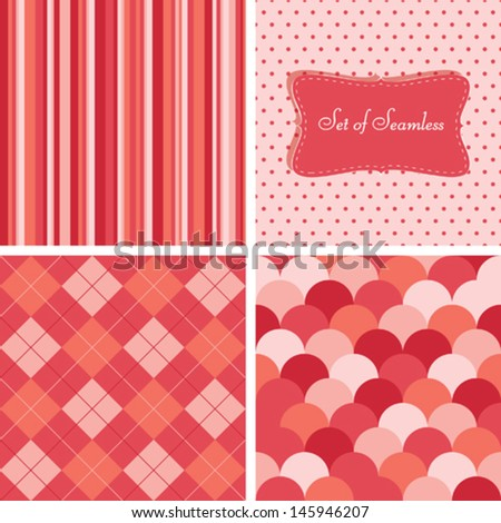 Set of retro seamless - stock vector