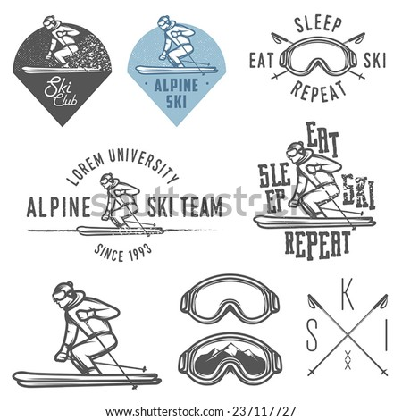 Set of retro ski emblems, badges and design elements - stock vector