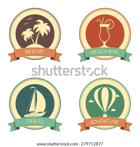 Set of retro style badges for summer holidays, vacation and travel design - stock vector