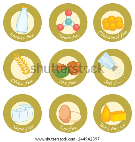 set of retro style icons concerning nutrition: lactose free, nitrate free, cholesterol free, gluten free, nut free, salt free, sugar free, egg free, trans fat free - stock vector