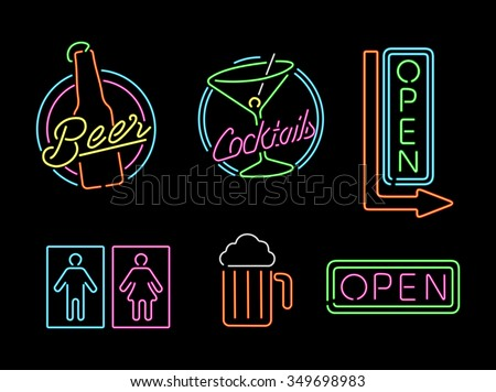 Set of retro style neon light outline sign icons for bar, beer, open business, cocktail and bathroom symbol. EPS10 vector. - stock vector