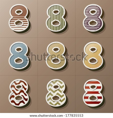 Set of Retro Style Number 8, Eps 10 Vector, Editable for Any Background, No Clipping Masks - stock vector