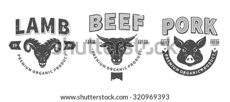 Set of retro styled butchery logo templates. Butchery labels with sample text. Butchery design elements and farm animals icons for groceries, meat stores, packaging and advertising. - stock vector