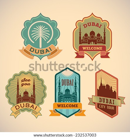 Set of retro-styled Dubai city tour labels. Editable vector illustration. - stock vector