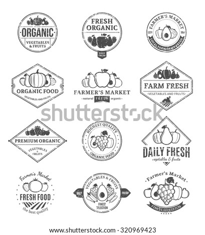 Set of retro styled fruit and vegetables logo templates. Fruit and vegetables labels with sample text. Fruits and vegetables icons for groceries, agriculture stores, packaging and advertising - stock vector