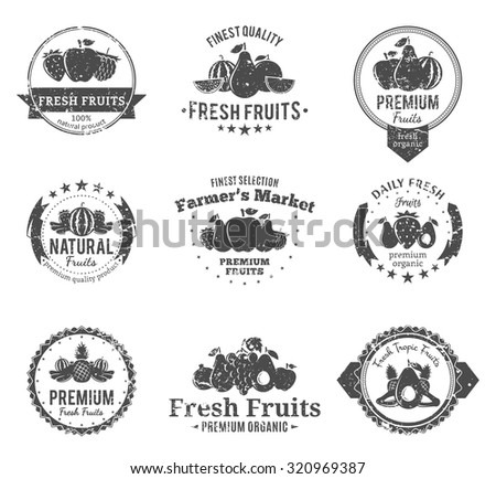 Set of retro styled fruit logo templates. Fruit labels with sample text for groceries, agriculture stores, packaging and advertising. Vector logotype design. - stock vector