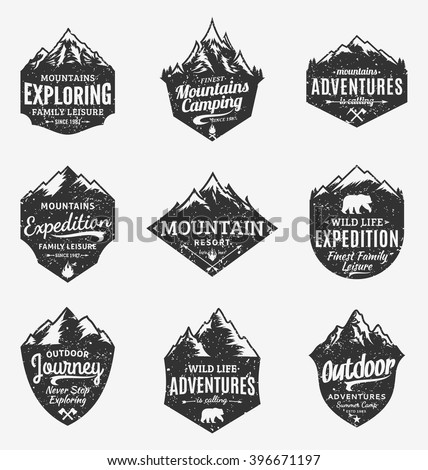 Set of retro styled vector mountain and outdoor adventures logo. Tourism, hiking and camping labels. Mountains and travel icons for tourism organizations, outdoor events and camping leisure. - stock vector