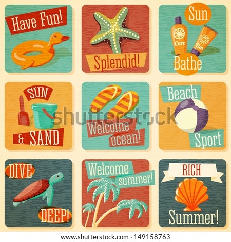 Set of retro stylized summer icons with typographic elements on a grunge background. Vector. - stock vector