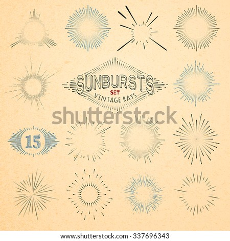 Set of Retro Sun Burst Shapes. Vector Collection of Trendy Hipster Sunburst Design Elements. Bursting Sun Rays Frames. Light Ray Vintage Style Frames - stock vector