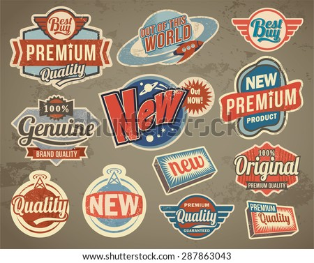 Set of retro vector stickers badges and labels - stock vector