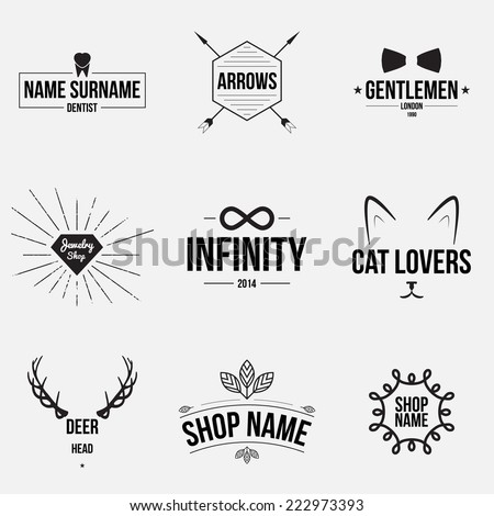 Set of retro vintage badges and label logo graphics. Design elements, business signs, labels, logos. - stock vector