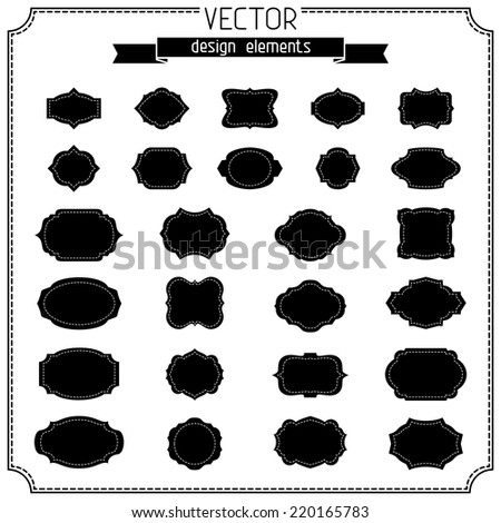 Set of retro vintage badges and labels. Black silhouettes isolated on white background.  - stock vector