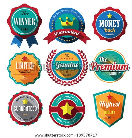 Set of retro vintage badges and labels 01. Flat design with long shadow .eps10  - stock vector