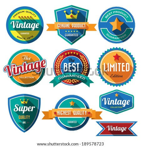 Set of retro vintage badges and labels 02. Flat design with long shadow .eps10  - stock vector