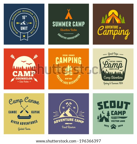 Set of retro vintage camp labels and logo graphics - stock vector