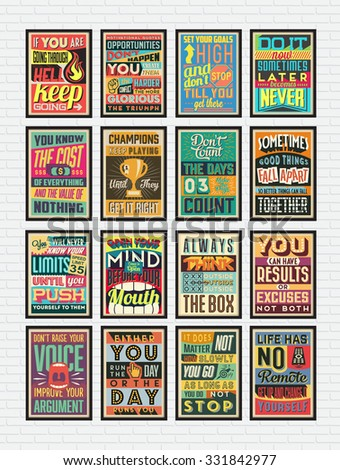 Set of Retro Vintage Motivational Quotes Poster with Calligraphic and Typographic Elements  - stock vector