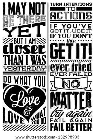Set of Retro Vintage Motivational Quotes with Calligraphic and Typographic Elements - stock vector