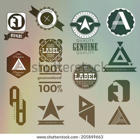 set of retro vintage ribbons and label - stock vector
