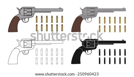 Set of  revolvers with bullets. Game resources. Color, contour, silhouette. Vector clip art illustration isolated on white - stock vector