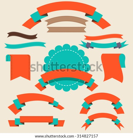 Set of ribbons and banners. Isolated vector illustration. - stock vector