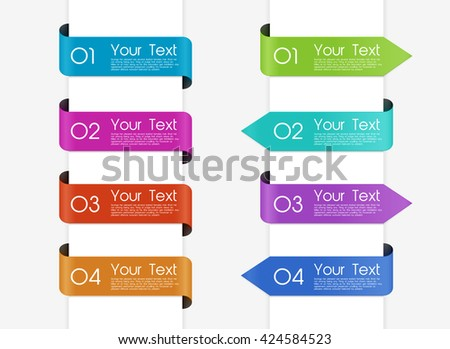Set of ribbons and labels - stock vector