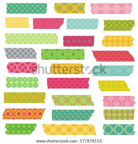 Set of Ribbons and Stickers - for design and scrapbook - in vector - stock vector