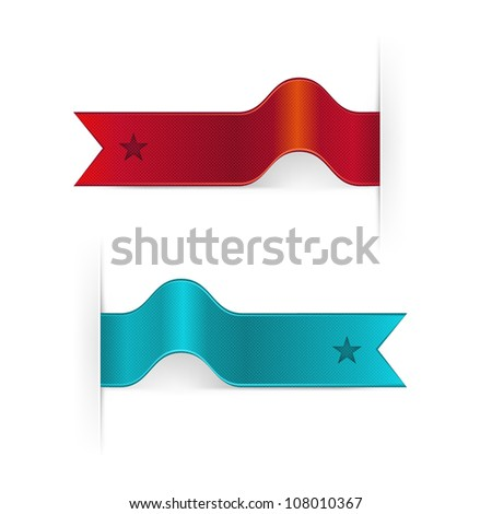 Set Of Ribbons, Isolated On White Background, Vector Illustration - stock vector