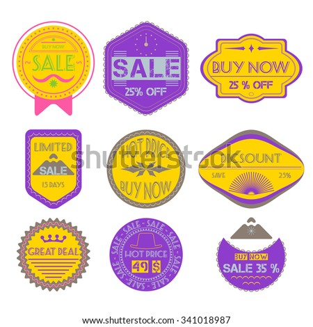 Set of Ribbons, Stickers, Labels. Vector. - stock vector