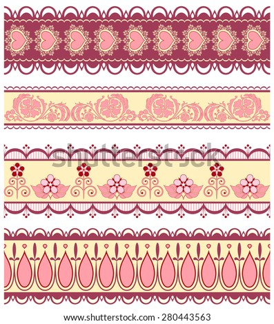 Set of ribbons with hearts and flowers in pink color - stock vector