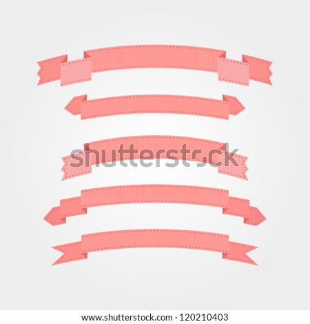 Set of ribbons with texture. Vector illustration. Retro banners - stock vector