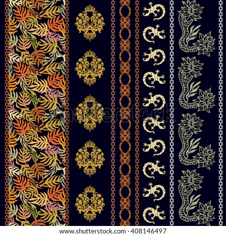 Set of rich bohemian borders. Hand drawn seamless damask pattern, palm leaves print, baroque stripes, lizards, fantasy flowers. Vintage textile collection. Golden, silver shadows on black.  - stock vector