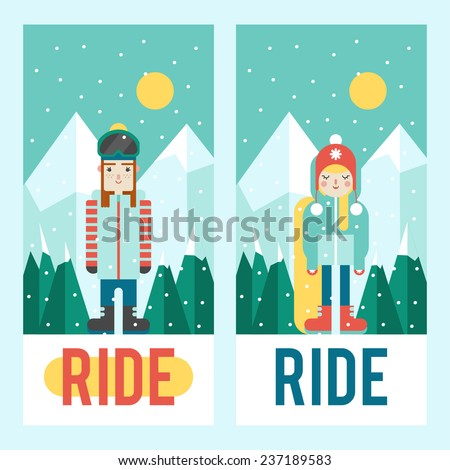 Set of riders - guys on mountains landscape background. Cute flat style. Design for flyer or phone cover. - stock vector