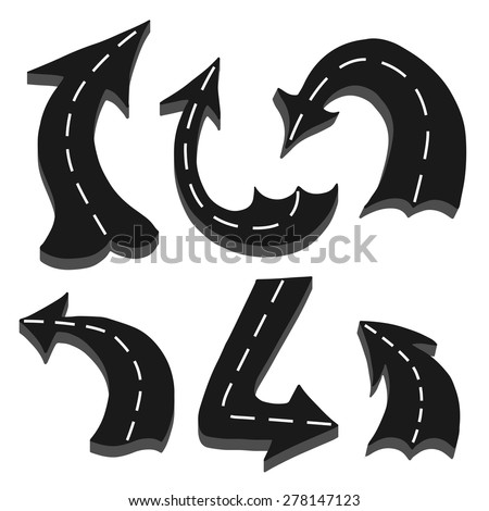 Set of Road in arrow shape isolated over white background - stock vector