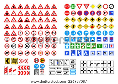 Set of road sign. collection of warning, priority, prohibitory, mandatory... traffic symbol. european and american style design. vector art image illustration, isolated on white background  - stock vector
