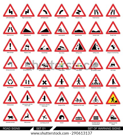 Set of road signs. Collection of triangular warning traffic signs. Signs of danger. Vector illustration.  - stock vector