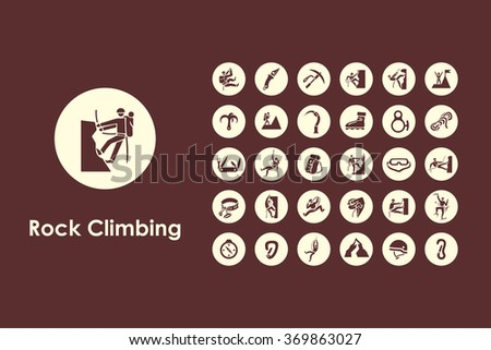 Set of rock climbing simple icons - stock vector
