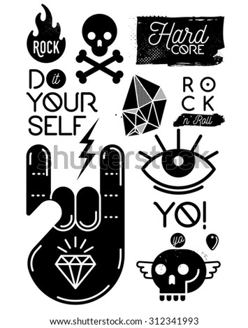 Set of rock music punk metal design elements - stock vector