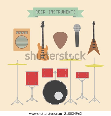 set of rock musical instrument and sign, flat style - stock vector