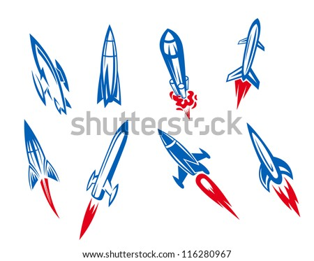 Set of rockets and missiles in cartoon style, such a logo template. Jpeg version also available in gallery - stock vector