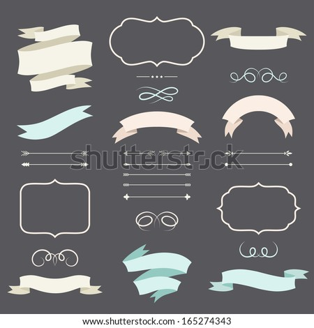 Set of romantic arrows, ribbons and labels in retro style. - stock vector
