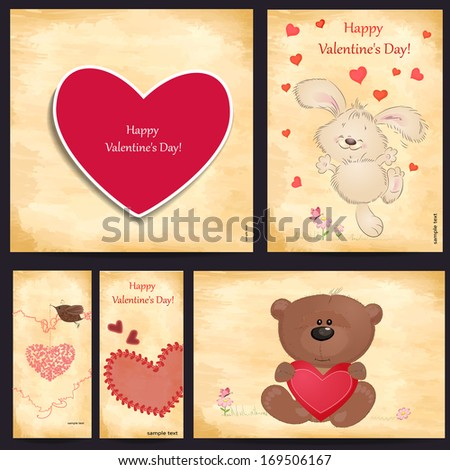 Set of romantic greeting cards Happy Valentine's Day - stock vector