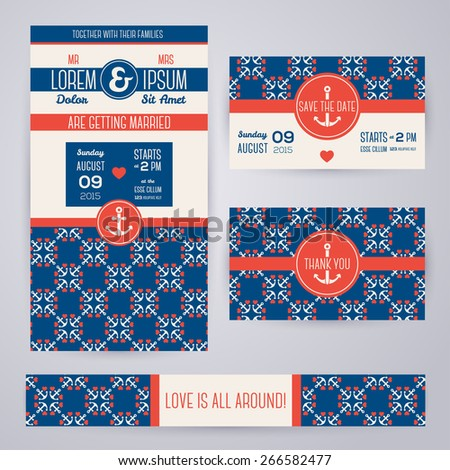 Set of romantic wedding invitations in marine style. Vector illustration. Sea symbols pattern in vintage style. Save the date cards. Beach party. Typographic template for your text. - stock vector