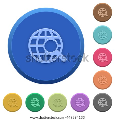 Set of round color embossed web search buttons - stock vector