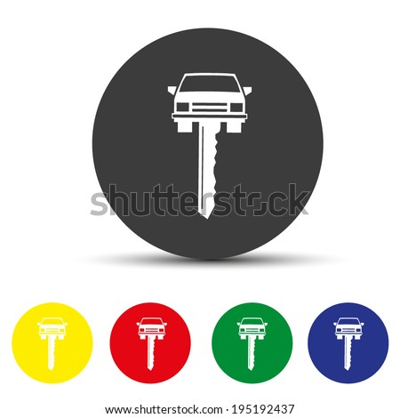 Set of round colored buttons. Vector illustration Car key vector simplistic icon - stock vector