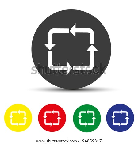 Set of round colored buttons. vector illustration circulation icon - stock vector